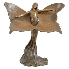 French Bronze 'Papillon', Nude Maiden w/ Wings, Signed & Dated, Renaud 1901