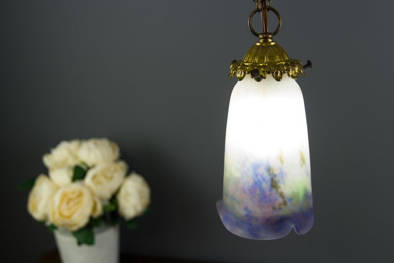 French Bronze Pendant Light with Pâte de Verre Glass by Muller Frères Luneville For Sale 14