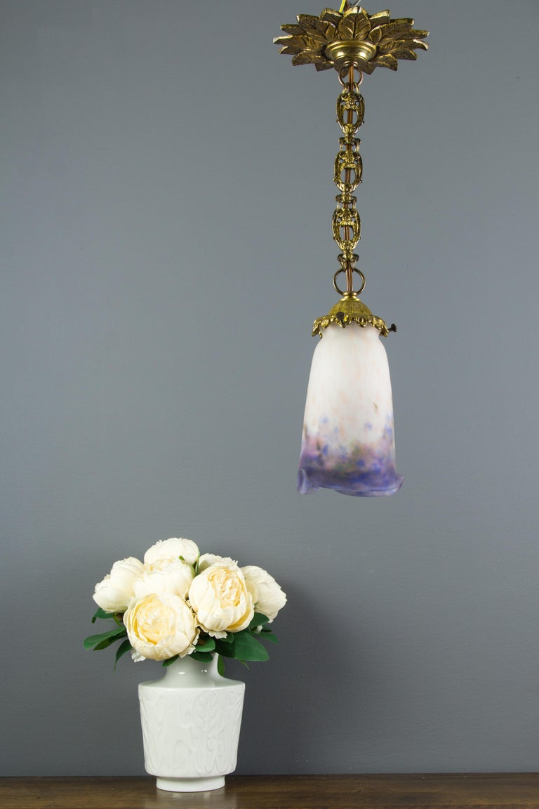 French Bronze Pendant Light with Pâte de Verre Glass by Muller Frères Luneville For Sale 15