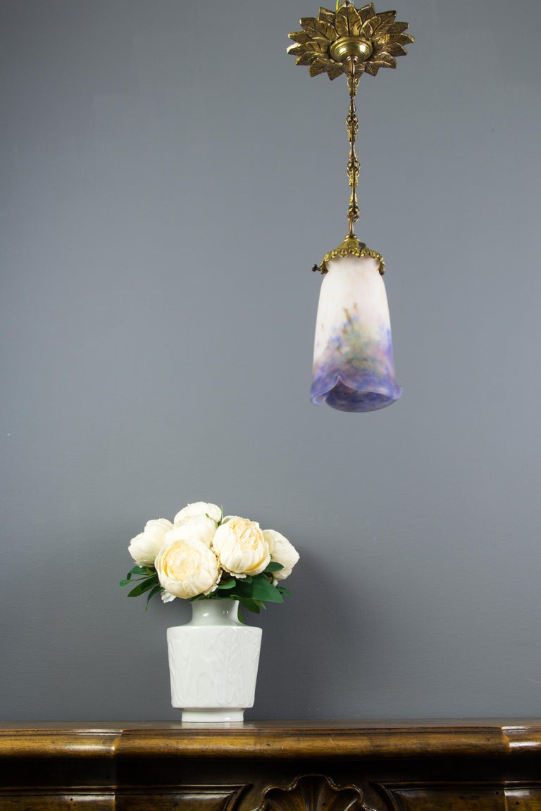 Early 20th Century French Bronze Pendant Light with Pâte de Verre Glass by Muller Frères Luneville For Sale