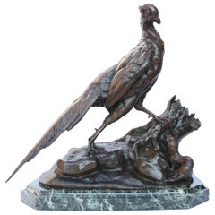 "French Bronze ""Pheasant and Weasel"" by Jules Moigniez"