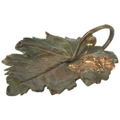 French Bronze Presenting Dish Shaped as Leaf by Giltay