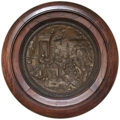 French Bronze Repousse Wall Medallion, 19th Century