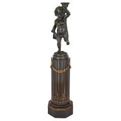 French Bronze Sculpture of a Cherub Raised on a Column