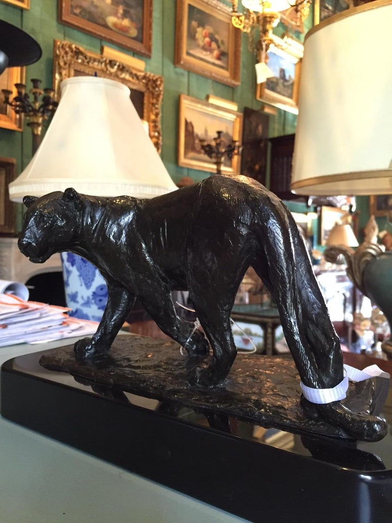 French Bronze Sculpture of a Lioness / Roger Godchaux & Susse Lost Wax /Desk Art For Sale 7