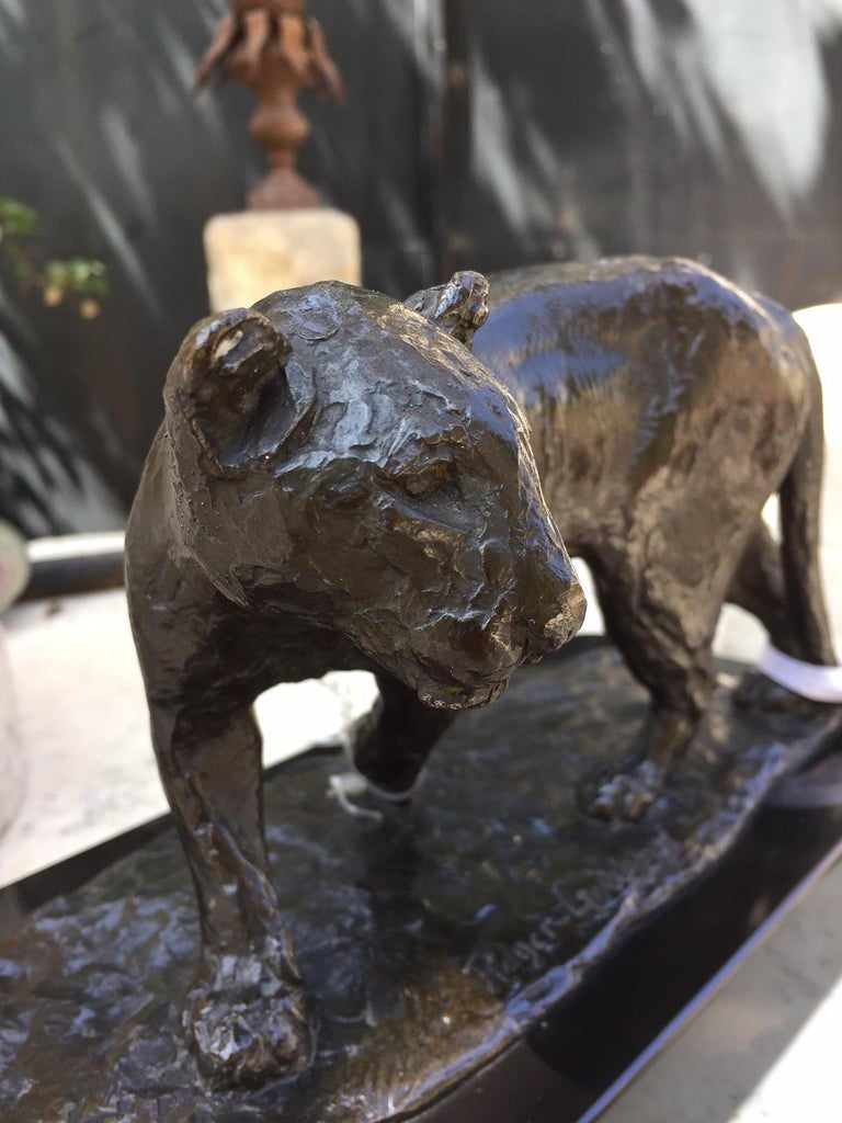 French Bronze Sculpture of a Lioness / Roger Godchaux & Susse Lost Wax /Desk Art For Sale 4