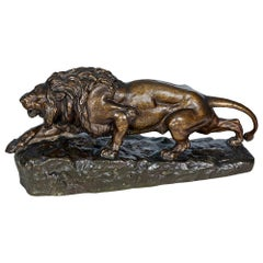 French Bronze Sculpture of a Stalking Lion by Isidore-Jules Bonheur