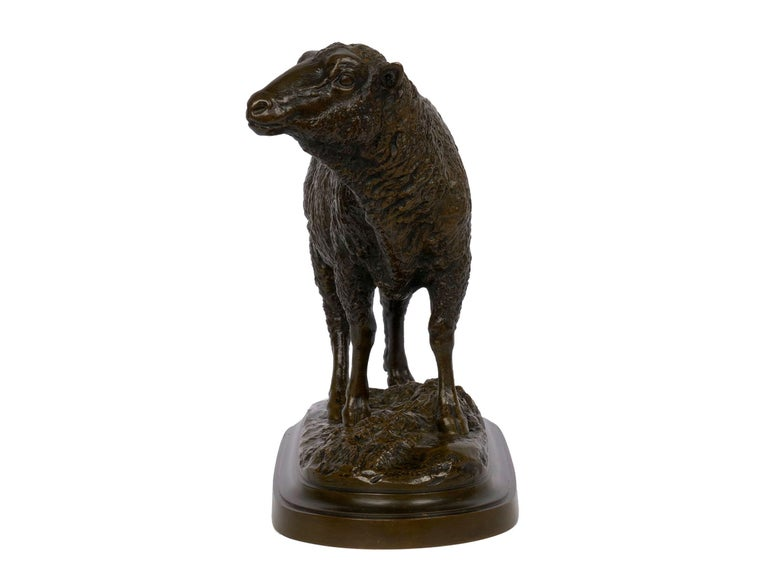 """French Bronze Sculpture of """"Merino Ewe"""" by Isidore Bonheur In Good Condition For Sale In Shippensburg, PA"""