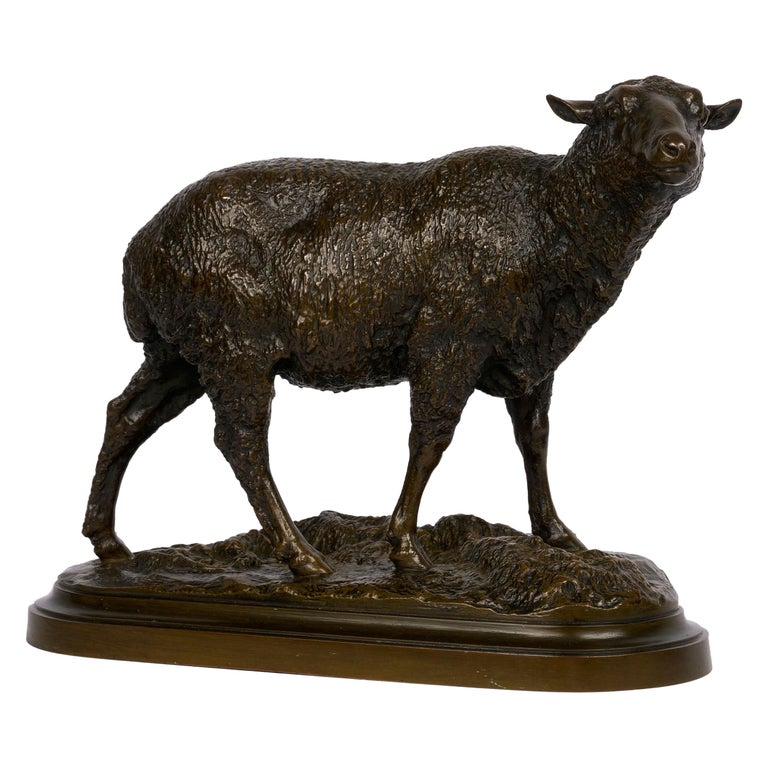 """French Bronze Sculpture of """"Merino Ewe"""" by Isidore Bonheur For Sale"""
