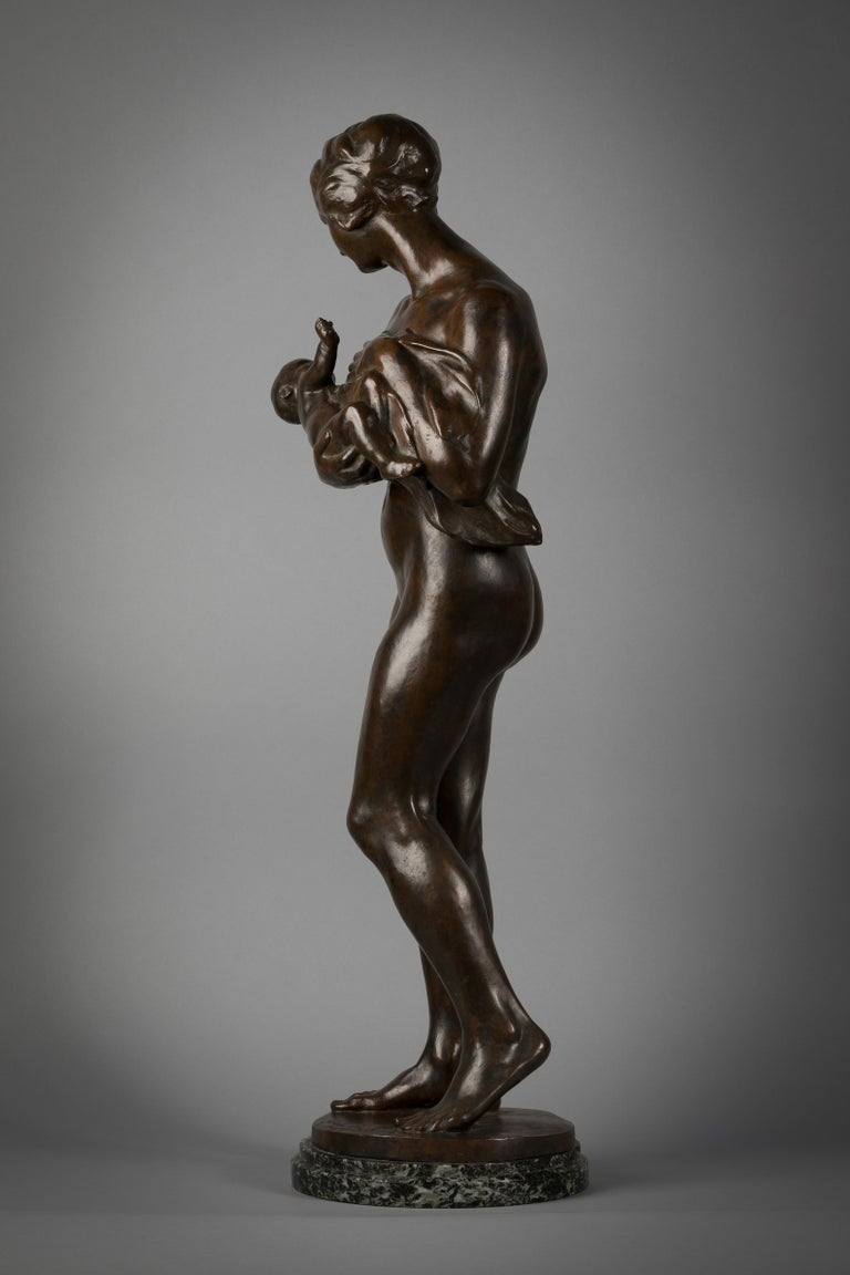 Late 19th Century French Bronze Sculpture of Mother and Child, by Paul Dubois For Sale