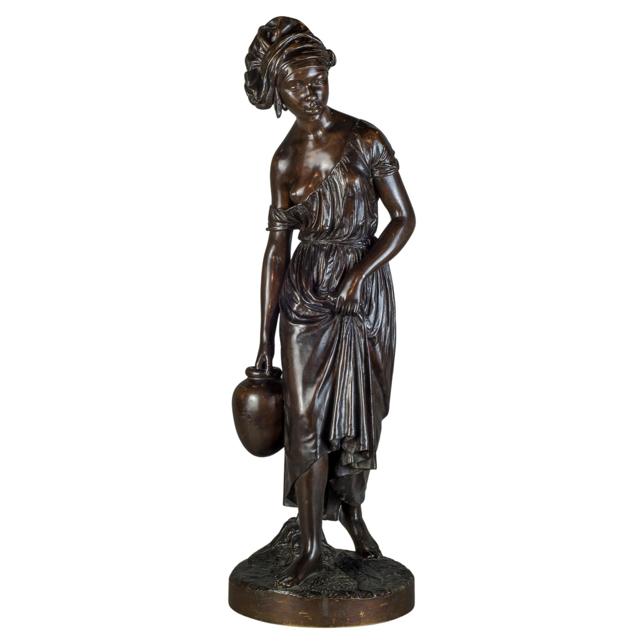 French Bronze Sculpture Statue of a Nubian Woman