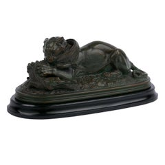 """French Bronze Sculpture """"Tiger Devouring a Gavial"""" after Antoine-Louis Barye"""