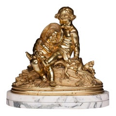 French Bronze Sculpture with Two Cherub Putti on the Marble Base, 19th Century