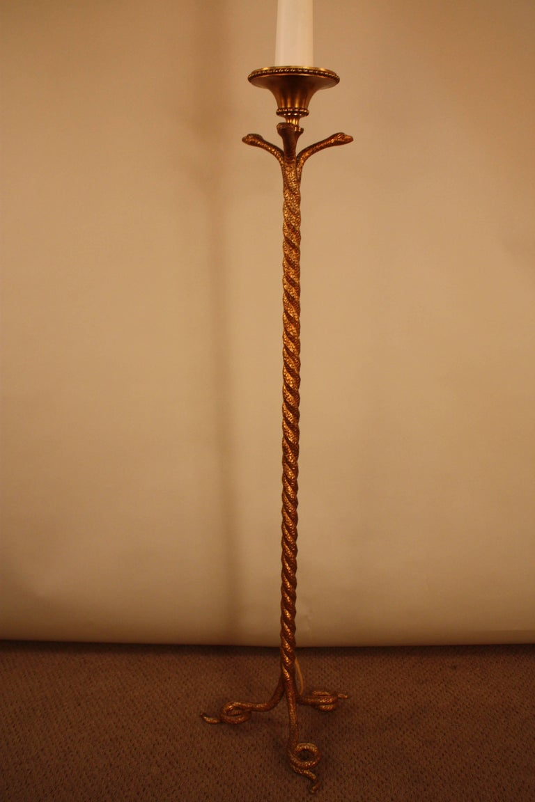 French Bronze Snakes Floor Lamp For Sale 5