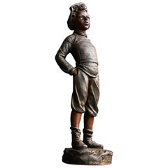 "French Bronze Spelter Figure by Siffleur ""The Little Whistling Boy"", circa 1890"