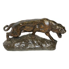 French Bronze Study of a Panther, Signed T Cartier, circa 1910