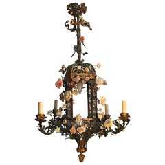 French Bronze Tole and Porcelain Chandelier