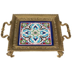 French Bronze Trivet with Longwy Ceramic Tile