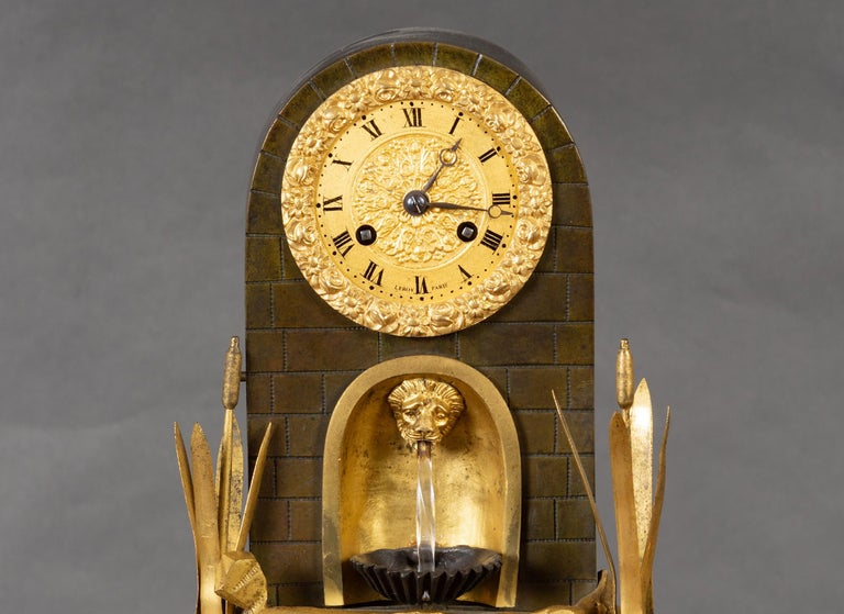 French Bronze Water Automation Clock by Leroy, Paris In Good Condition For Sale In Norwich, GB