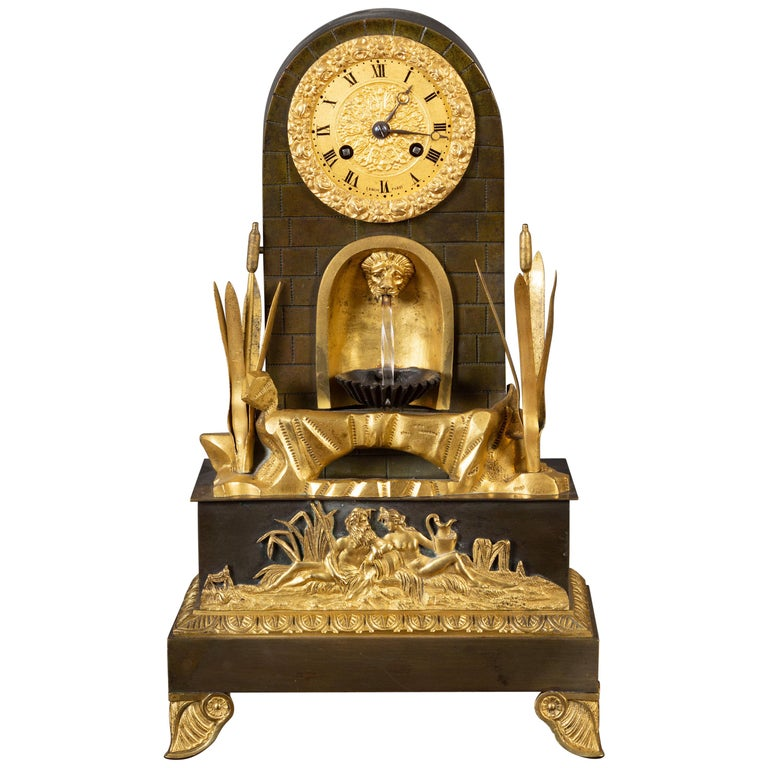 French Bronze Water Automation Clock by Leroy, Paris For Sale