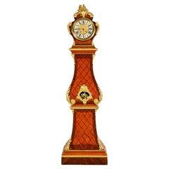 French Bronze Wood Grandfather Clock, Paris 18th Century, Veneer Gilded, France
