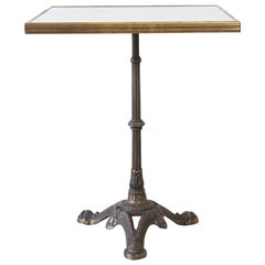 French Bronzed Iron and Faux Marble Bistro Table