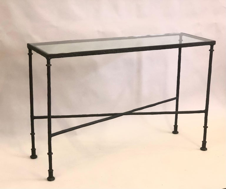 French Mid-Century Bronzed Wrought Iron Console in Style of Jean-Michel Frank In Good Condition For Sale In New York, NY
