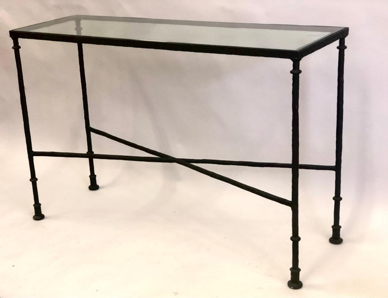 20th Century French Mid-Century Bronzed Wrought Iron Console in Style of Jean-Michel Frank For Sale