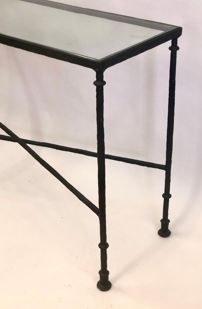 French Mid-Century Bronzed Wrought Iron Console in Style of Jean-Michel Frank For Sale 1