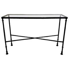 French Bronzed Wrought Iron Console in Style of Giacometti for Jean-Michel Frank
