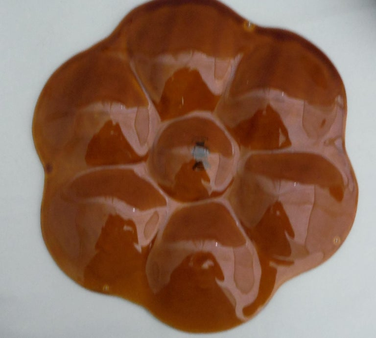 French brown Majolica oyster plate signed Luneville circa 1940.