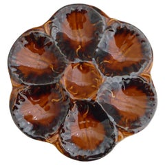 French Brown Majolica Oyster Plate, circa 1940