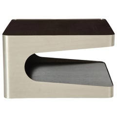 French Brushed Steel, Oak Side Table