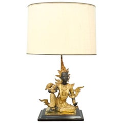 Buddha Brass and Wood Table Lamp France 1970s