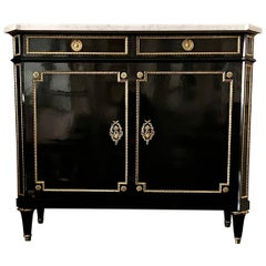 French Buffet Cabinet, Louis XVI Style Ebonized with Marble Top