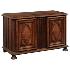 French Buffet Cabinet w/Thick Reed Carving & Diamond Paneled Doors, Early 19th C