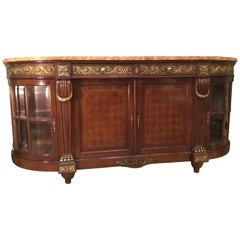 French Buffet/Sideboard, 19th Century with Marquetry and Bronze Dore Mounts