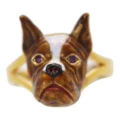 French Bulldog Enamel Ring 18 Karat