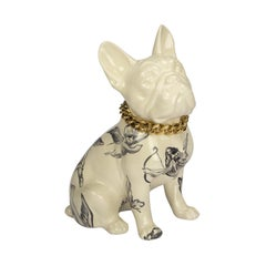 French Bulldog Figurine Decor, Hand-Painted Ceramic Dogs Figurative Sculptures