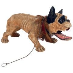 French Bulldog Growler Pull Toy, circa 1890s
