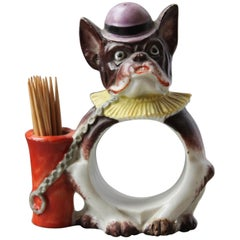 French Bulldog Napkin, Toothpick and Card Holder, Porcelain, Germany