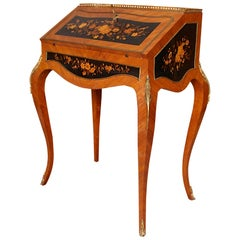 French Bureau De Dame Ladies Writing Desk 19th Century Rosewood Satinwood