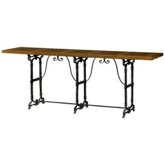 French Burl and Iron Console