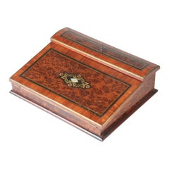 French Burl Walnut Veneer Writing Slope Case, Napoleon III, 19th Century