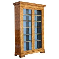 French Burled Maple Veneered Glass-Door Cabinet, circa 1840