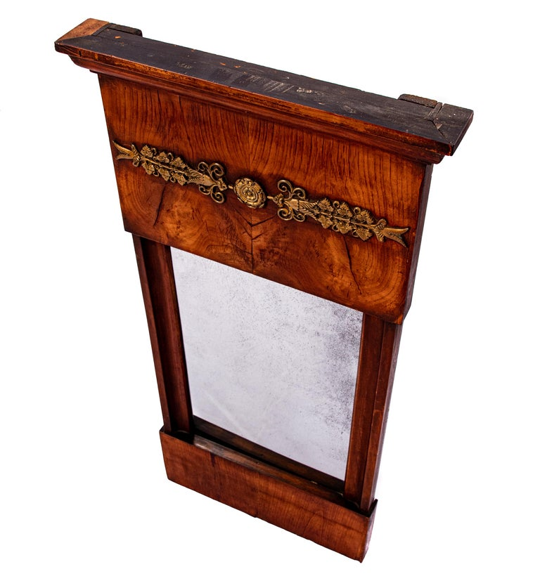 19th Century French Burled Wall Mirror For Sale