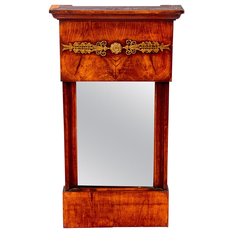 French Burled Wall Mirror For Sale