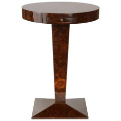 French Burled Walnut Side Table