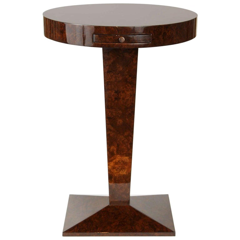 French Burled Walnut Side Table For Sale