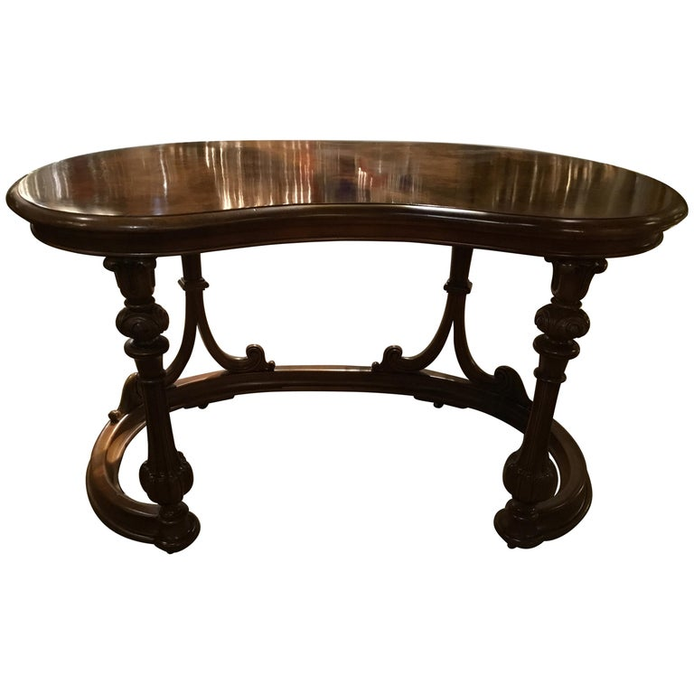 French Burl Wood Kidney Form Writing Desk, 19th Century For Sale